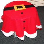 """48"""" Adorable Round Red Christmas Santa Claus Suit Table Cloth with White Trim"""