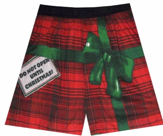 Do Not Open Until Christmas Plaid Boxers for men