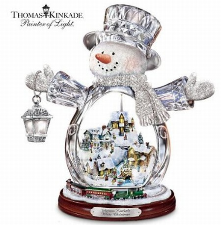 Crystal Snowman Figurine Featuring Light-Up Village