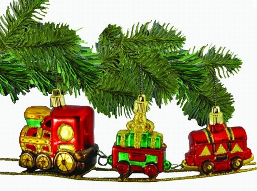 Barcana 3-Inch Shatterproof Train on Track, Christmas Ornament