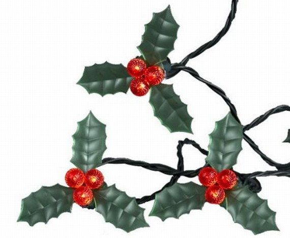 30-Light Green Holly Leaf with Red Berries LED Light Set