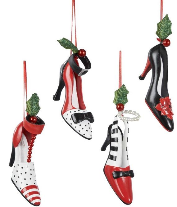 Polyresin Holiday High Heel Shoe Ornament