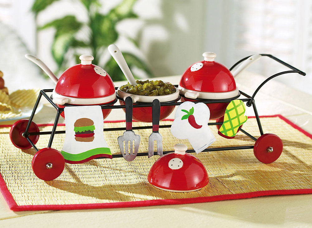 3 Part Grill Shaped Condiment Holder