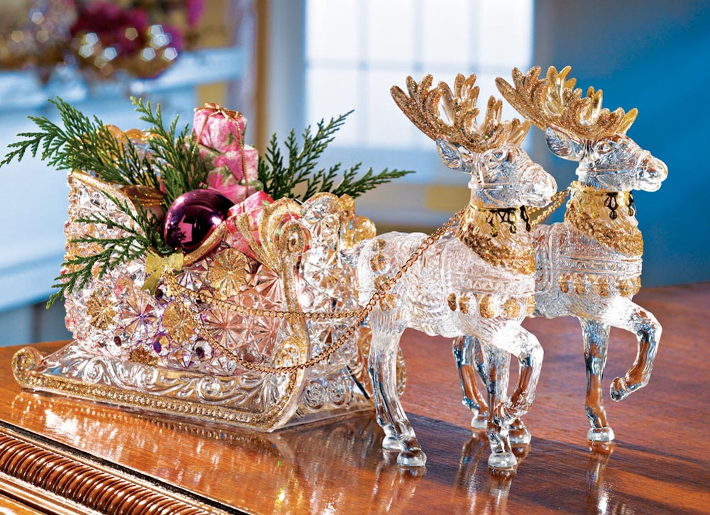 Crystal reindeer sleigh holiday centerpiece christmas