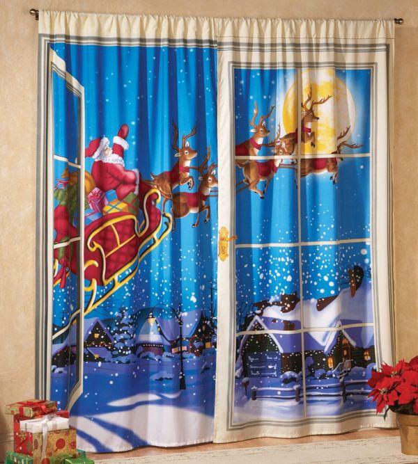 Christmas Curtain Santa & Reindeer | Christmas