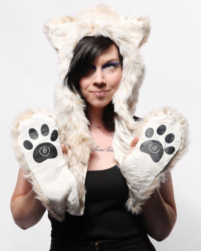 Authentic Spirithoods Snow Leopard Full Hood Animal Hat