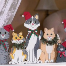 Christmas Theme Cat Wooden Window Decoration