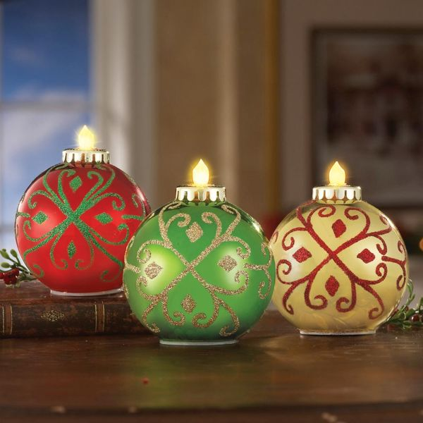 3 Glittered Ornament Shaped Lights Christmas