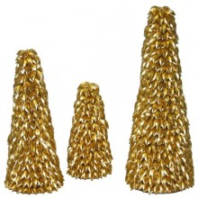 Good Tidings 10-Inch, 14-Inch, and 18-Inch Gold Leaf Christmas Trees, Set of 3