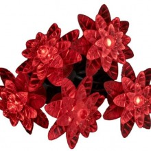 Kurt Adler 25-Light LED Red Petal Reflector Light Set