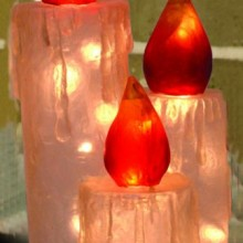 27-Inch Illuminated Fiberglass Clear Frosted Candle Trio Outdoor Christmas Light