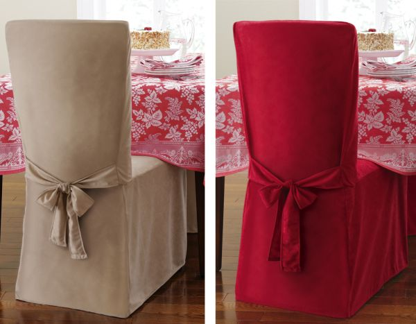 Faux Suede Holiday Dining Chair Cover Tieback Christmas