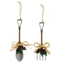 Winter Wonder Pitchfork and Shovel Garden Tool Holly Leaf Ornaments