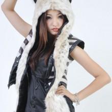 Snow Leopard Full Animal Hoodie Hat 3-in-1 Function