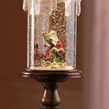 Lighted Santa Candle Snow Globe