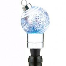 Illuminated Christmas Ornament Snow Globe Wine Stopper