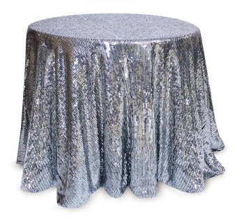 Silver Sequined Round Christmas Holiday Tablecloths