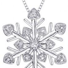 Cubic Zirconia ''Snow Flake'' Pendant with Chain