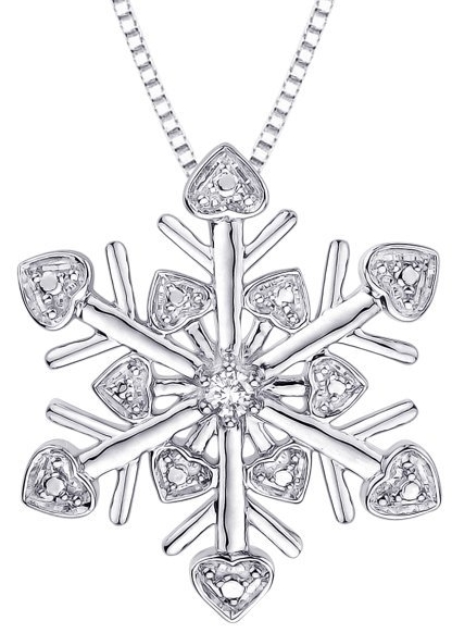 Cubic Zirconia ''Snow Flake'' Pendant with Chain