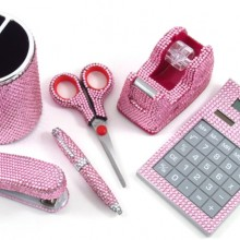 6 Piece Pink Crystal Office Supply Set:
