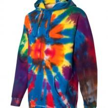 Rainbow Multi-Color Cut-Spiral Frayed Hooded Sweatshirt