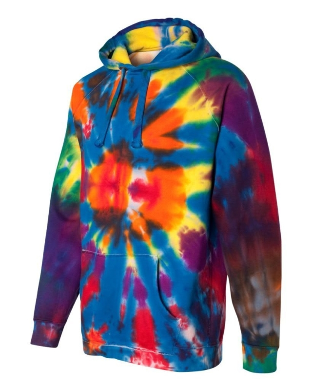 Rainbow Multi-Color Cut-Spiral Frayed Hooded Sweatshirt