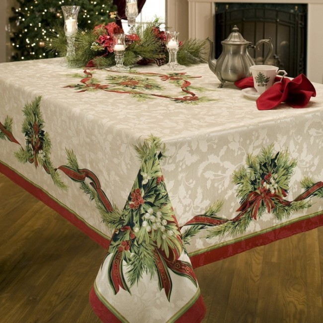 Christmas Ribbons Engineered Printed Tablecloth