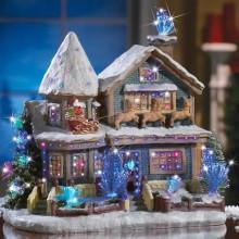 Holiday Fiber Optic Victorian House Figurine