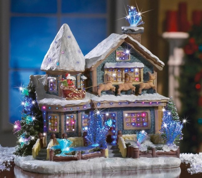Holiday Fiber Optic Victorian House Figurine