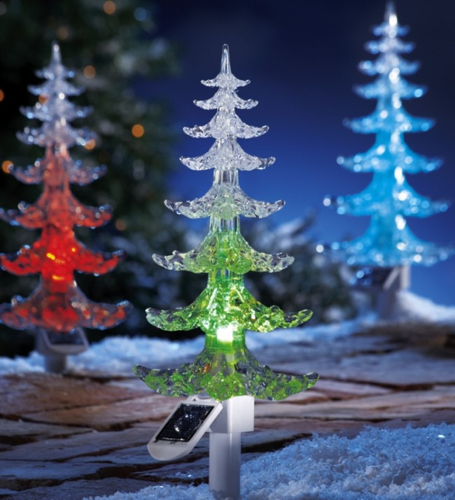 Color Changing Solar Evergreen Tree Garden Stake