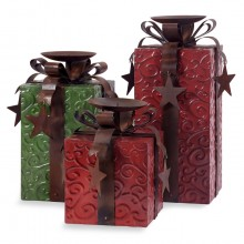 Holiday Present Christmas Gift Candle Holders Stand