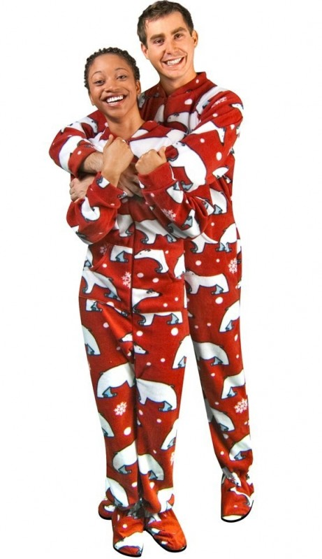 Polar Bear Print Red Polar Fleece Drop Seat Footie Pajamas