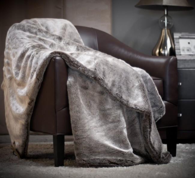 Chinchilla Faux Fur Throw Blanket Rug