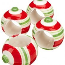 Tree Holiday Ornament Ceramic Napkin Rings