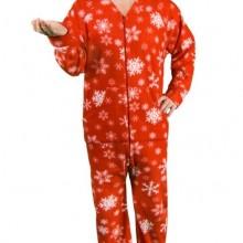 Red Snowflakes Print Polar Fleece Butt Flap Footy Pajamas