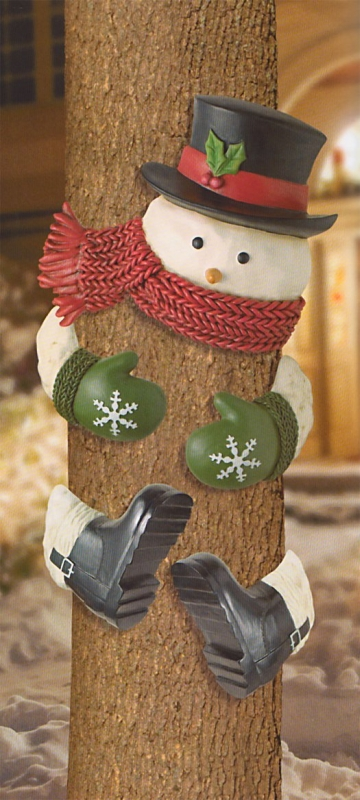 Snowman With Top Hat Outdoor Tree Hugger Christmas