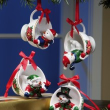 Snowman Pals Holiday Teacup Ornament Set