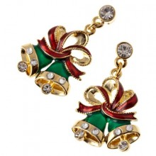 Red Ribbon Gold Tone Holiday Charm Earrings