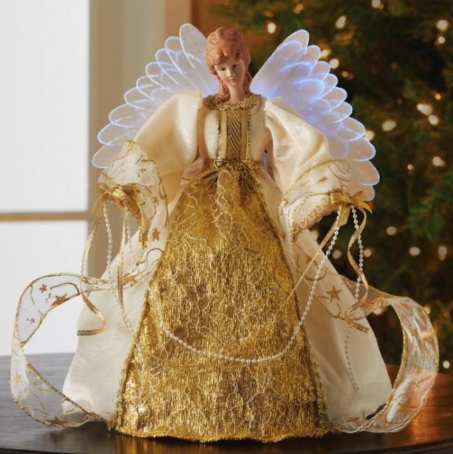 Fiber Optic Angel of Gold Holiday Collectible
