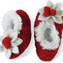 Baby-girls Infant Poinsettia Baby Slipper