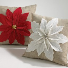 White Poinsettia Felt Holiday Design Throw Pillow
