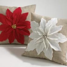 White Poinsettia Felt Holiday Design Throw Pillow