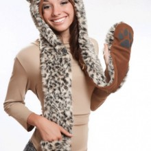 Leopard Full Animal Hood Hoddie Hat Faux Fur 3 In 1 Function