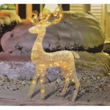 White Reindeer Lighted Christmas Yard Art Decoration