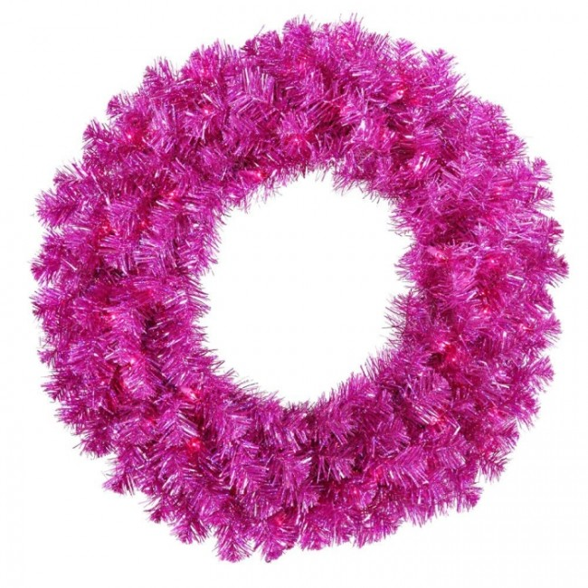 Fuchsia Christmas Wreath w/ 70 Purple Mini Lights