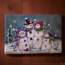 Lighted Snowman Wall Canvas Painting