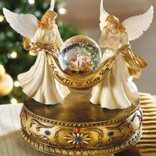 Musical Angels Christmas Holiday Snow Globe w/ Baby Jesus