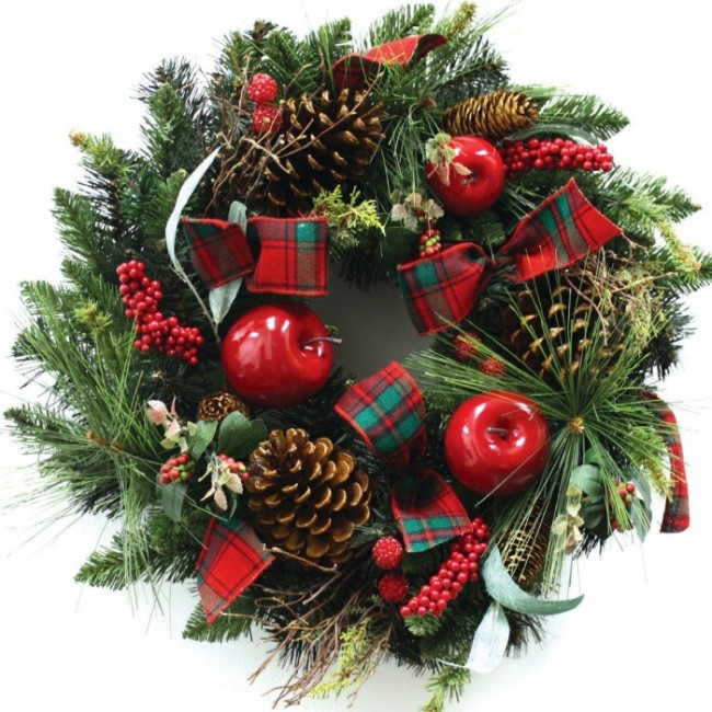 Wreath PVC Pine with Cones Apple Berries Twig Ribbon