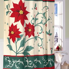 Poinsettia Bathroom Christmas Shower Curtain