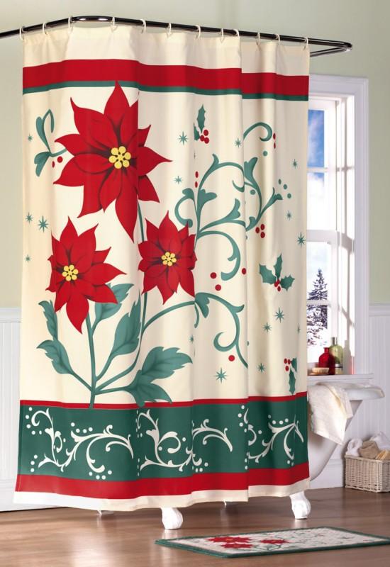 Poinsettia Bathroom Christmas Shower Curtain
